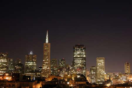San Francisco skyline, at night