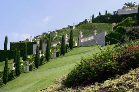 Jardines de Bahai, Haifa, Israel. Foto de archivo