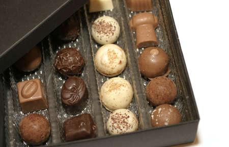 Caja de chocolates, Macro. Foto de archivo