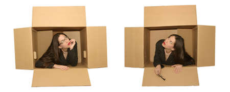 thinking outside of the box Stock Photo