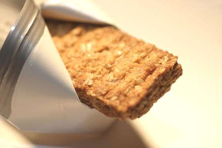 Barra de granola, macro, someras DOF  Foto de archivo