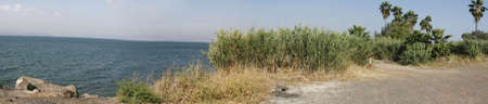 Sea of Galilee, northern Israel, near Tiberius - Panorama Stock Photo