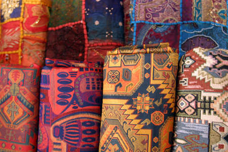Colorful fabrics at the market. Stock Photo - 1261445