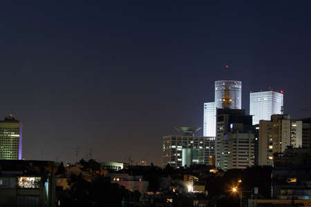 Tel Aviv at night, Tel Avivs skyline, Israel. Stock Photo