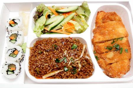 Bento caja - la cocina japonesa de comida r�pida  Foto de archivo