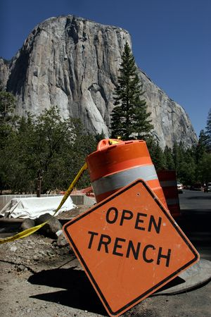 Open Trench sign, El Capitan in the background