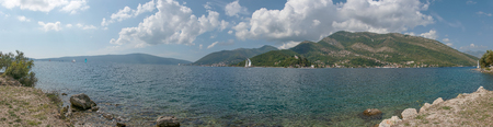 Bay of Kotor, Boka kotorska is a winding bay of the Adriatic Sea in southwesternmost Montenegro. Regatta. Panoramic sea landscape