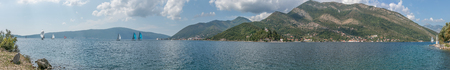 Bay of Kotor, Boka kotorska in Adriatic Sea. Southwesternmost Montenegro. Regatta. Panoramic sea landscape