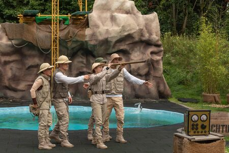 Hodenhagen, Germany - 03 August 2017: Attraction Trip to the jungle. Adventure of travelers on safari. The safari vacation game in Serengeti park Editorial