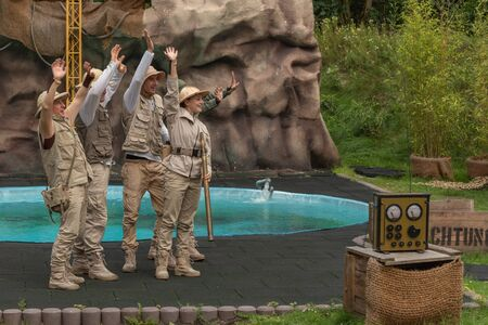 Hodenhagen, Germany - 03 August 2017: Attraction Trip to the jungle. Adventure of travelers on safari. The safari game in Serengeti leisure park