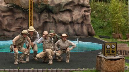 Hodenhagen, Germany - 03 August 2017: Attraction Trip to the jungle. Adventure of travelers on safari in Serengeti leisure park