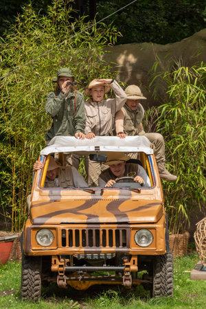 Hodenhagen, Germany - 03 August 2017: Trip to the jungle. Adventure of travelers on safari in Serengeti leisure park