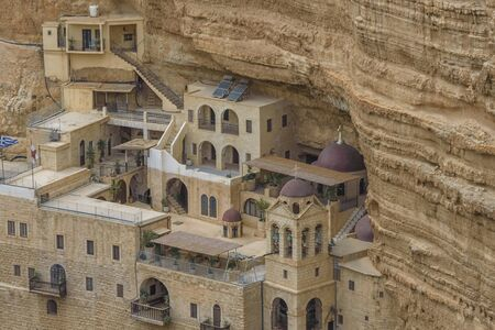 Monastery of Saints George and John Jacob of Choziba is Wadi Qelt, Israel. The cliff-hanging complex with its ancient chapel and gardens, nhabited by Greek Orthodox monks. Landscape Stock fotó