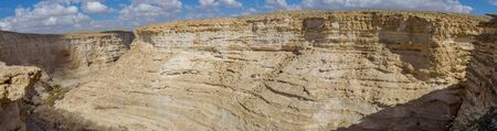 Canyon Ein Avdat in the Negev Desert of Israel. Traveling in majestic nature of Israel. Panorama