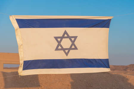 Independence Day in Israel. National flag in the desert