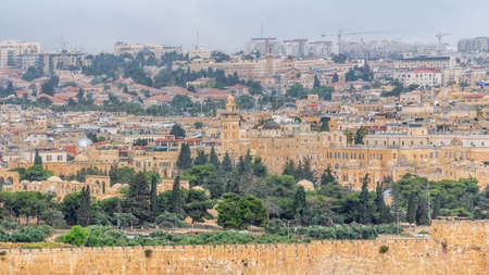 Panorama of the old city Jerusalem. Most important world holy places. Travel photo