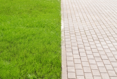 Brick walkway in the park and green grass photo