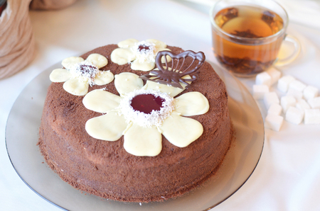 recipe decorated: Delicious cake and a cup of tea Stock Photo