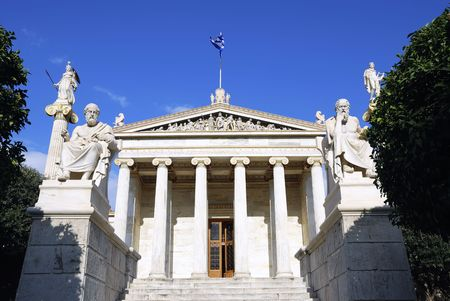 platon: The National Academy Building in Athens. The building, which was built from 1859-1885, is located on the south of The University of Athens main building (Panestimio street). In front of the facade stand two high ionic columns, which bear the colossal sta