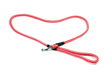hook up: Red pet leash iseolated on white background