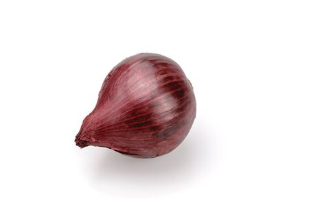 Onion is purple. Onions with a husk of purple. On a white background, isolated. Close-up.