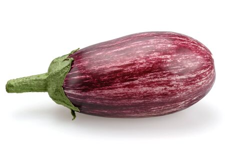 Eggplant purple striped. Nightshade on a white background, isolated. Still life of vegetable. Close up view. Stock Photo
