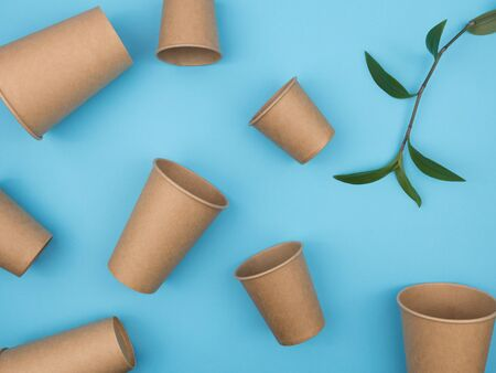 Environmental dishware on a blue background. Paper cups and green sprig live plant. The view from the top.