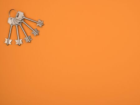 Silver keys on orange background are located in the corner. Accessory for door opener. The view from the top. Banque d'images