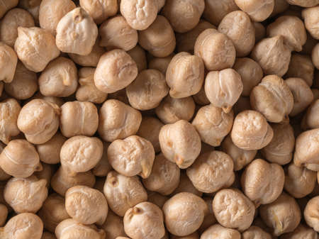 Chickpeas closeup. The view from the top. Round beans.