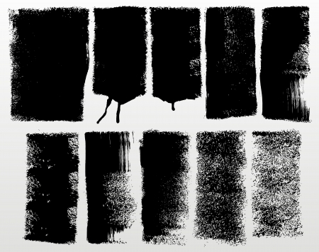 set of detailed grunge paint roller strokes