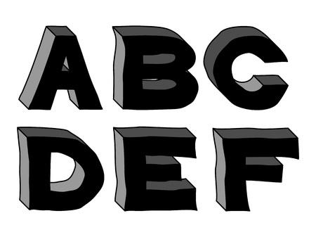 hand-drawn 3d alphabet of stone