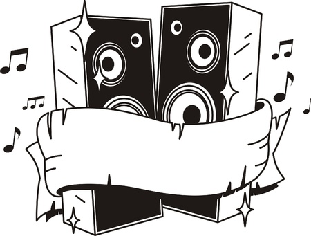 sound system: altavoces vector fuerte del estilo del tatuaje Vectores