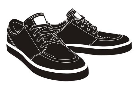vector black sport shoes, sneakers