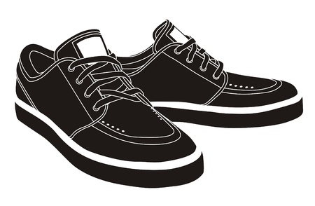 shoes vector: vector black sport shoes, sneakers