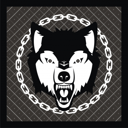 vector wolf head on heraldic background