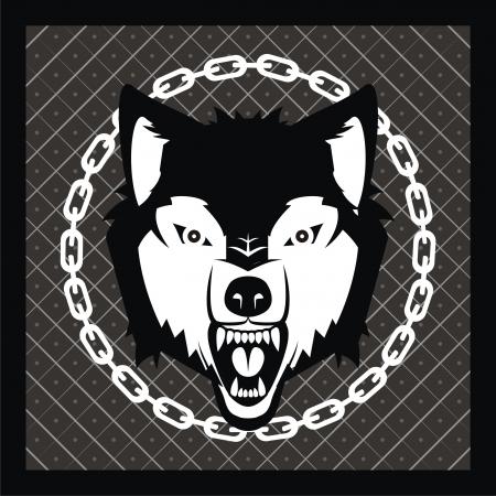 vector wolf head on heraldic background Stock Vector - 17929648