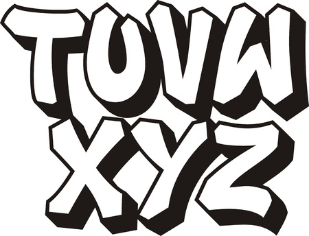 vector graffiti font alphabet