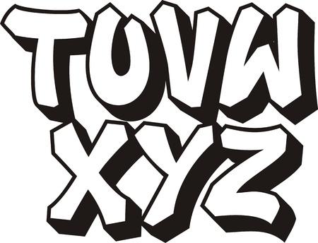 abecedario graffiti: vector de graffiti alfabeto fuente
