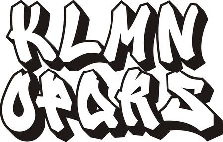 abecedario graffiti: vector fuente de graffiti alfabeto part 2