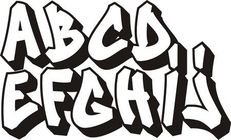 alphabet graffiti: vector de la fuente de graffiti alfabeto