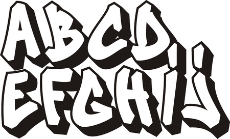 vector graffiti font alphabet