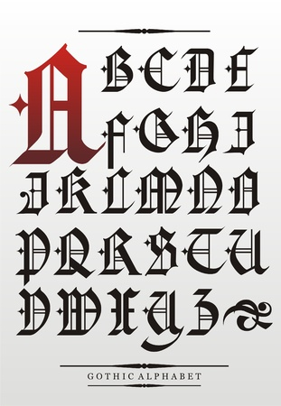 gothic font alphabet with decorations Vector