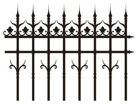 puertas de hierro: valla de hierro de época Vectores