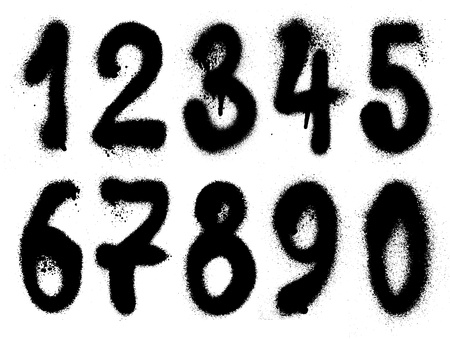 spray can: hand drawn graffiti grunge numbers  Stock Photo
