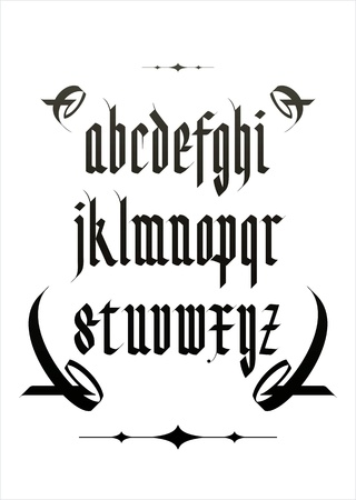 vector gothic font alphabet with decorations