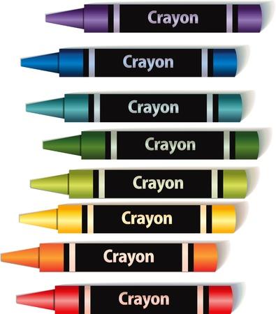 colorful wax crayons  Illustration
