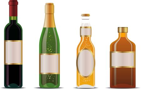 wine, champagne, beer and whiskey bottles