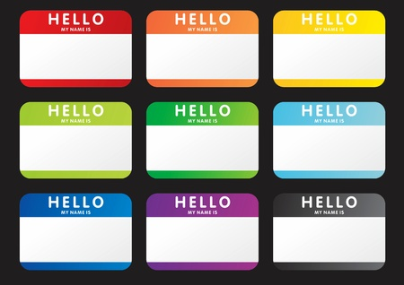 name tags: Set of hello my name is stickers Illustration