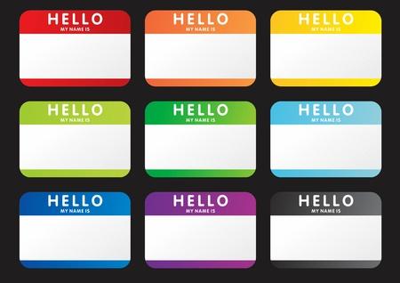 Set van hello is mijn naam stickers Stockfoto - 17929566