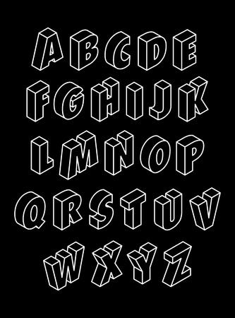 Black 3D alphabet Illustration